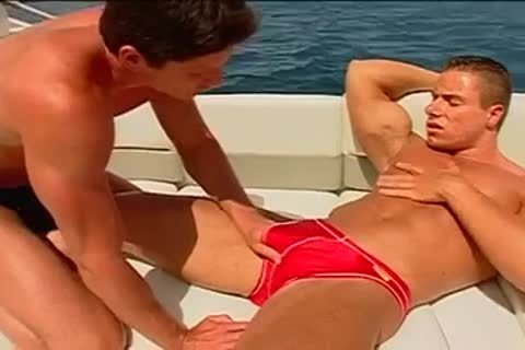 Fervent pooper pumping on the yacht with muscled fellows