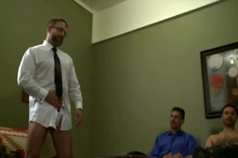 Suited daddy In black Socks pokes twink