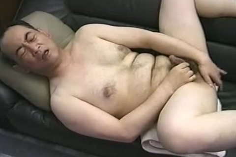 nice Looking fashionable Japanese Daddy Single Action.  Jack Off