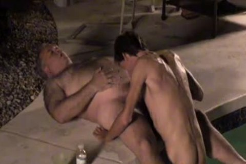 Dilfs engulf penis And sperm By The Pool!