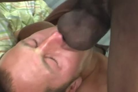 White man Deepthroating A enormous darksome knob