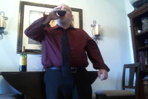 mature Suit disrobe (with Red Wine!)