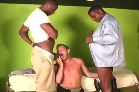 White dude Deepthroating huge darksome penises