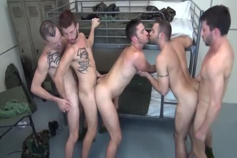 5 Military dudes unprotected Double poke In Barracks