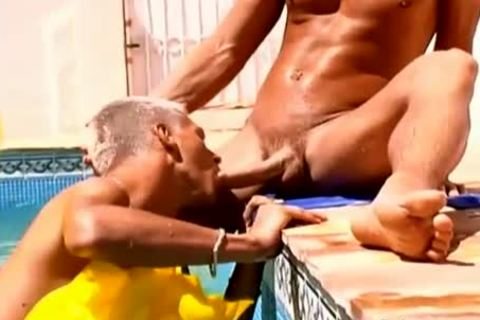 Wow kinky cocks stunning Poolside homosexual ass plowing