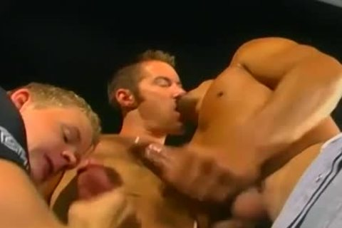 lewd gay penis likes two big Hard schlongs yummy threesome