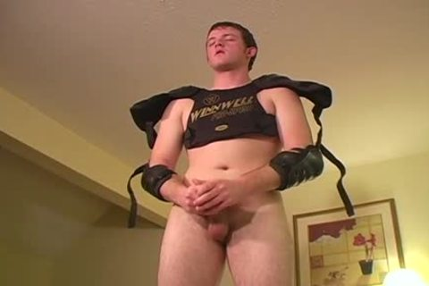 Turned On Football knob males acquires Firm And Wanks His fine large Hog For you