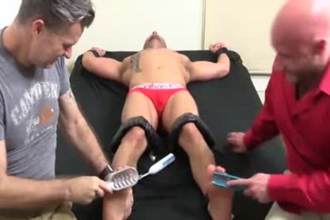 lustful Bald fellow With Tattoos gets Hard Tickle Session