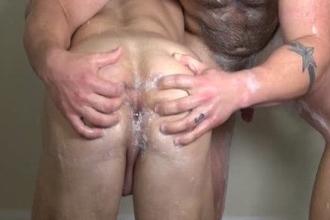 Muscle homosexual dudes butthole job With sex cream flow