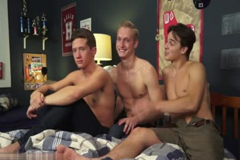sexy gay three-some And cumshot