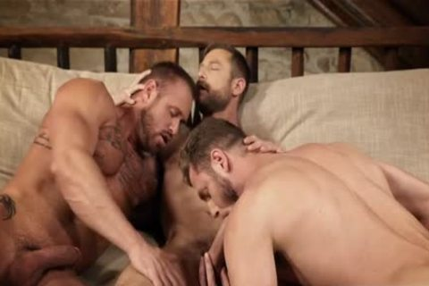 Muscle homosexual three-some And Creampie