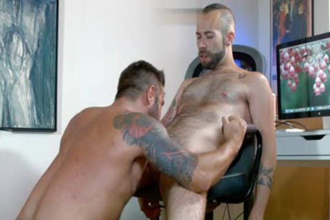 Muscle homosexual oral pleasure-job And cumshot