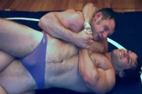 two Muscle Hunks Pvt Wrestle