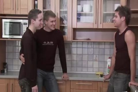teen lad MEDIA Pissing teen Kitchen three-some