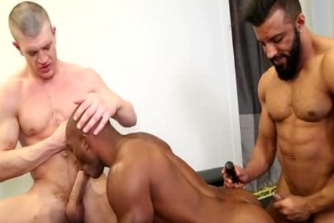 large penis homosexual threesome With sex cream flow