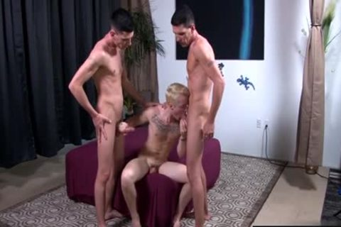large 10-Pounder gay threesome And cumshot