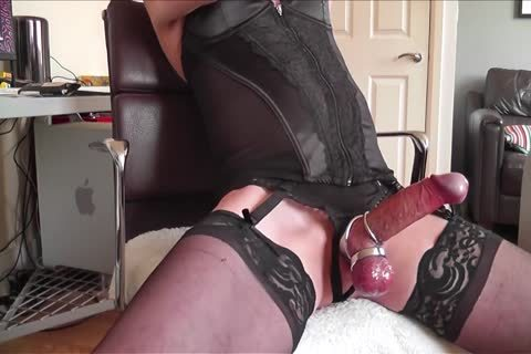 dark Corset, stockings, steel Rings And sperm