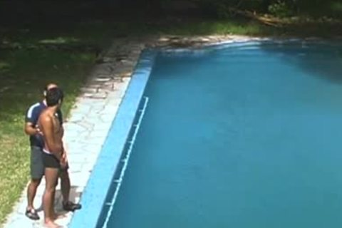 daddy invades Latino man's sleazy pooper  by pool