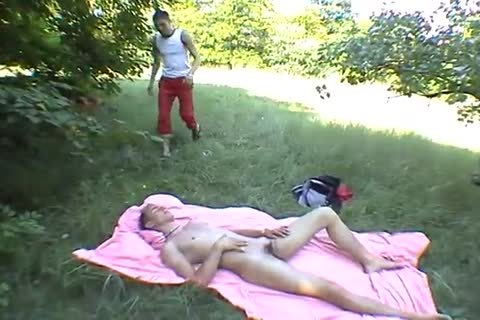 Two lascivious homosexual guys having ass sex outdoors