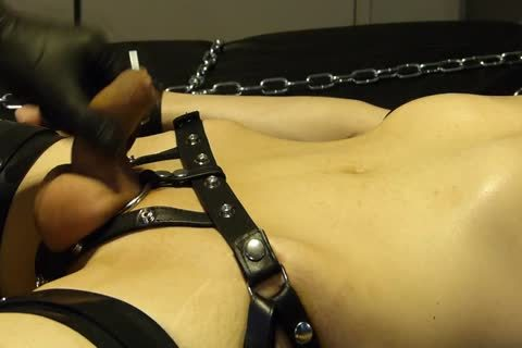 man Comes Proudly With His recent Set Of Shiny Latex Restraints. he Doesn't Know Until Late That Their Efficacy Will Be Checked With Painful Electro On The hips. As The Sub Has Not sperm For A Week, he is Masturbated Several Times With A Break Just p