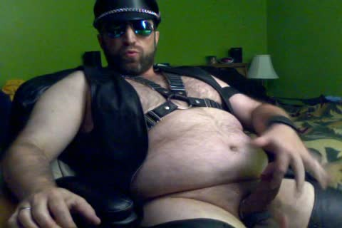 Me Cumming In Full Leather whilst Watching A Porn