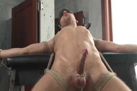 tied man cums In Own mouth