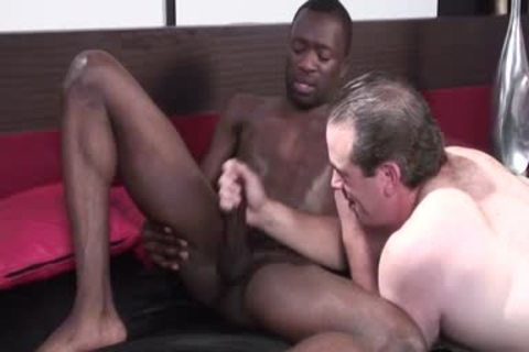 black homosexual man receives Jerked Off