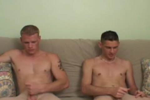 Alex & Chris have a enjoyment wanking