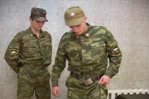 Soldier gets A thrashing before stroking!