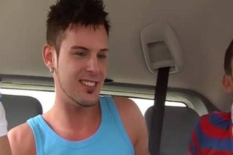 Three twinks Have amazing delicious three-some Sex In The Car