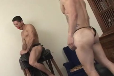 homo guy Jams His meat In His twink dildo's gap