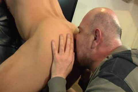 Bald chap Licks His Younger allies pooper And Sucks His knob