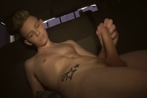 horny Tattooed Alex Silvers wanking His long penis In A Van