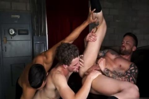 Latin homosexual three-some And semen flow