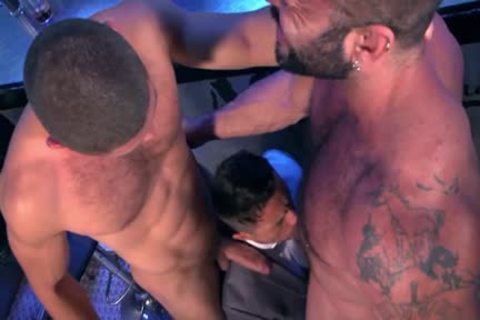 Muscle homosexual threesome With Facial