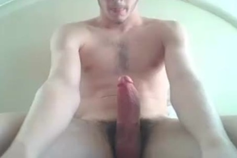 Straight boy wanking His ramrod
