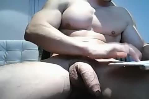 Muscle lad Pulls His humongous Uncut penis
