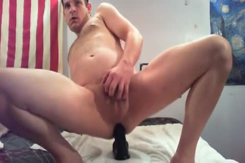 Crushing My Own Guts With A massive dildo