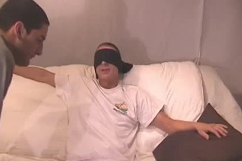 Blindfolded teen receives His penis Sucked
