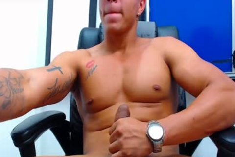 Flirt4Free Latino stud shoots A Load From His Monster cock