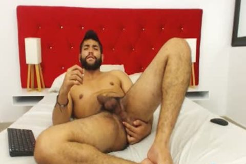 Studly hairy guy Fingers His wazoo And Cums Hard