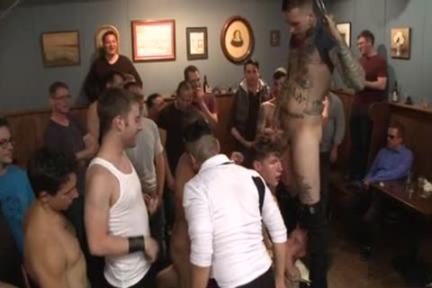 Tattoo Wolf fastened With ass cumshot