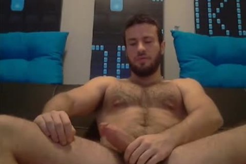 hairy pumped up man Stroking On webcam