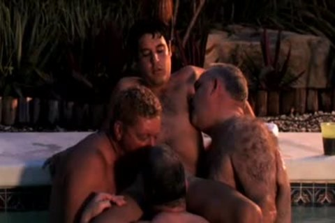 Three gay Dads have a pleasure Blowjobs In The Pool