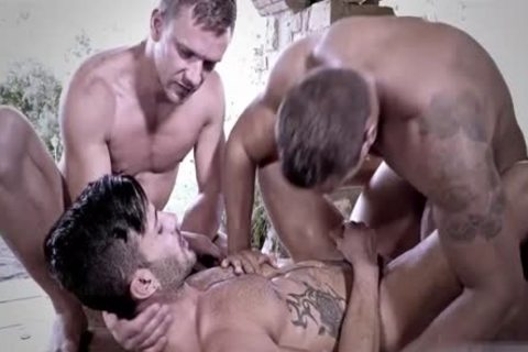 Tattoo homosexual trio And sperm flow