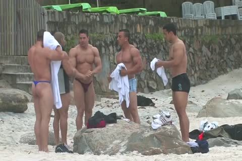 Bodybuilders In thongs At Beach