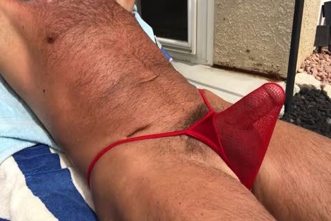 Sunbathing lustful hairy Daddy