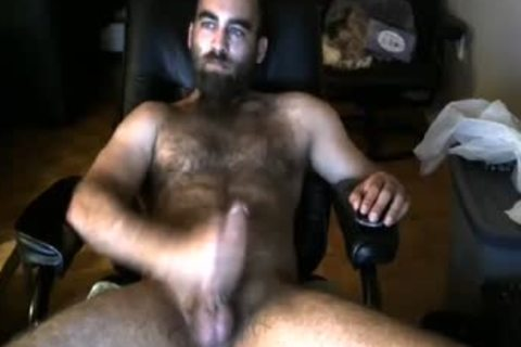 Bearded bushy Bull discharges A big Load