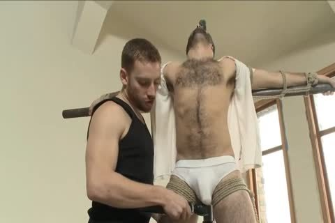 hairy chap Is tied Up For The First Time And Edged