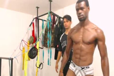 Tairon And Alexandro - Flirt4Free - black chap In Army Garb Flexes whilst Latino Buddy Gives Him A Hard handjob